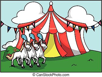 Una atracción de circo de caballos blancos