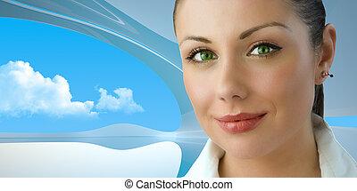 Una atractiva mujer de negocios de ojos verdes