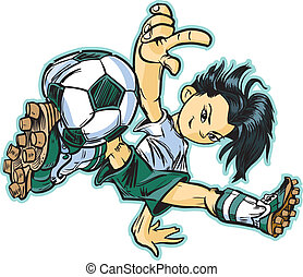 Una bailarina asiática de fútbol