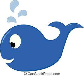 Una ballena azul nadando en el agua se ve bien vector o ilustración de colores