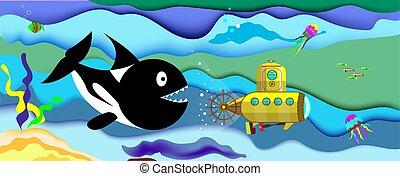 Una ballena gigante está cazando un submarino en el océano. Ilustración de vectores.