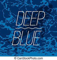 Una ballena nadando en un póster azul profundo del océano.