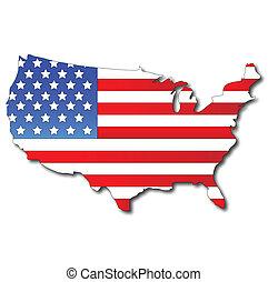 Una bandera americana en un mapa de Estados Unidos