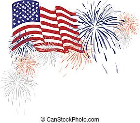 Una bandera americana y fuegos artificiales