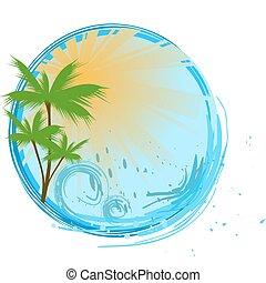 Una bandera azul redonda con palma