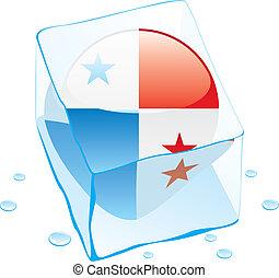 Una bandera de botón de Panamá congelada en hielo