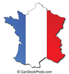 Una bandera francesa en un mapa de Francia