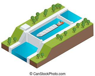 Una barcaza isométrica en un río. Un barco muy grande. Comercio contaminado, liquido a granel y envíos a granel seco. Nave internacional.
