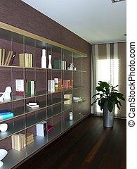 Una biblioteca en un apartamento moderno