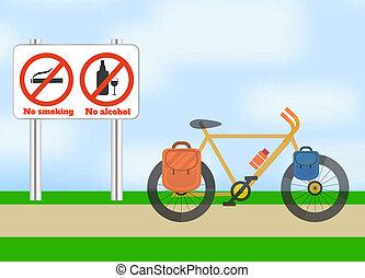 Una bicicleta en la carretera. Deporte de turismo de bicicleta.