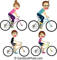Una bicicleta familiar feliz