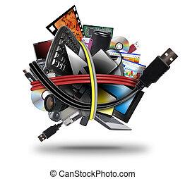 Una bola de cable de la tecnología electrónica USB