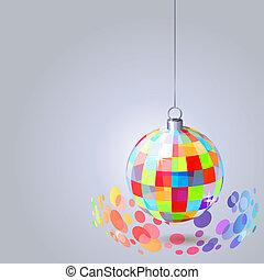 Una bola de espejos con chispas en un fondo gris claro