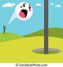 Una bola de golf gritando