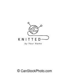 Una bola de hilo, dibujada a mano la plantilla de vector de logo. Hecho a mano y tejiendo tema.