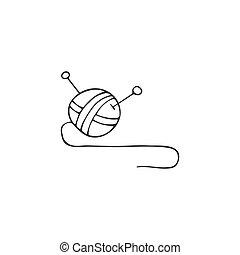 Una bola de hilo, el elemento vector de logotipo a mano. Hecho a mano y tejiendo tema.