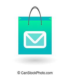 Una bolsa de compras con una señal de correo