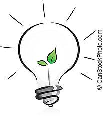 Una bombilla ecológica con semillas
