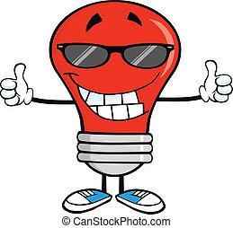 Una bombilla roja con gafas de sol
