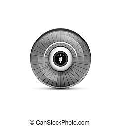 Una bombilla, un nuevo botón de concepto web