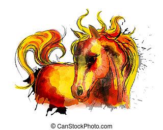 Una bonita pintura coloreada de caballo