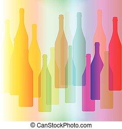 Una botella colorida en el fondo