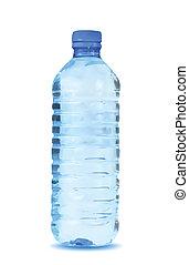 Una botella de agua azul de fondo blanco. Vector