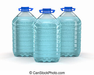 Una botella de agua de fondo blanco