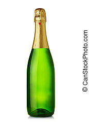 Una botella de champaña aislada en blanco