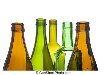 Una botella de cristal macro