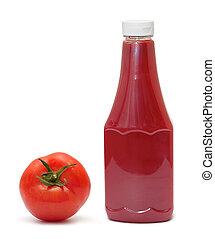 Una botella de ketchup y tomate en blanco