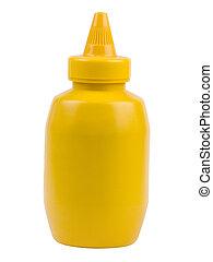 Una botella de mostaza amarilla
