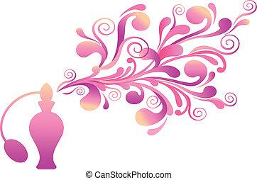 Una botella de perfume floral