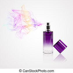 Una botella de perfume rociando aroma de colores