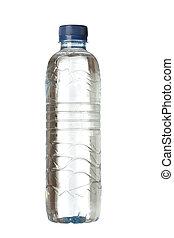 Una botella de plástico llena de agua