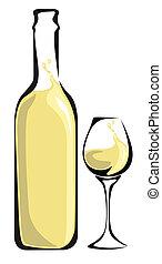 Una botella de vino blanco con vidrio