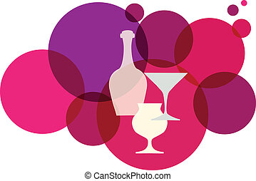 Una botella de vino con gafas de fondo retro