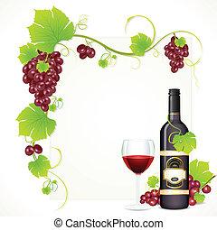 Una botella de vino con vidrio