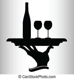Una botella de vino para dos vectores