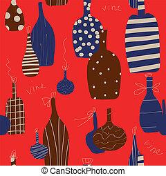 Una botella de vino sin manchas de diseño divertido en colores rojos