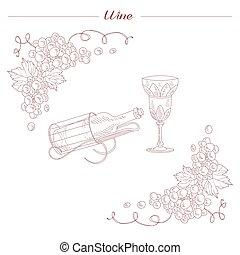 Una botella de vino y un dibujo realista