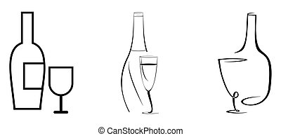 Una botella de vino y un vaso