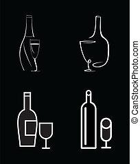 Una botella de vino y vino