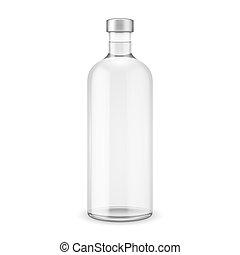 Una botella de vodka con gorra de plata.