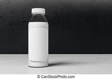 Una botella de yogurt con etiqueta blanca en blanco