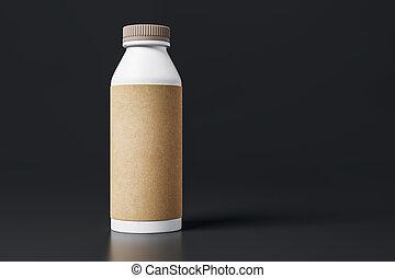 Una botella de yogurt con una etiqueta marrón en blanco