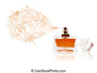 Una botella perfumada rociando olor a color