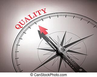 Una brújula abstracta con aguja apuntando a la palabra calidad