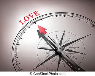 Una brújula abstracta con aguja apuntando la palabra amor