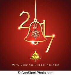 Una brillante campana de Navidad en rojo